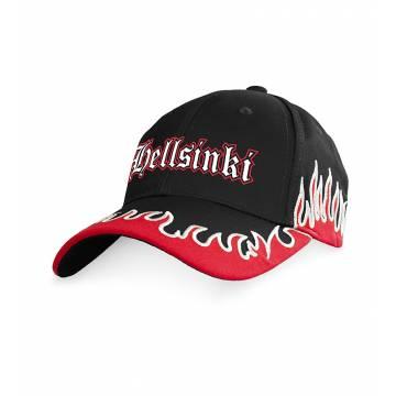 Musta-Punainen Hellsinki Cap with flames