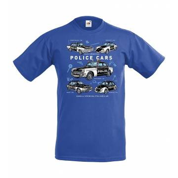 Royal Blue Old Swedish Police Cars Kids T-shirt