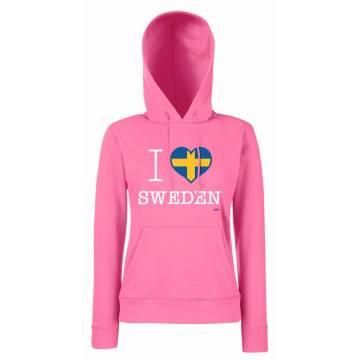 Fuchsia I Love Sweden Slim hooded sweat