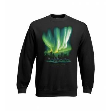 Black Northern lights and reindeer Sweatshirt