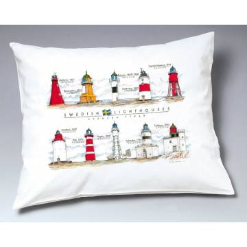 White Swedish Lighthouses Pillow case