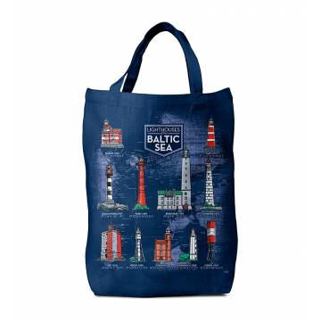 Navy Blue Baltic Sea Lighthouses Bag