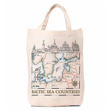 Luonnonvalkoinen Itämeren kartta Kassi
