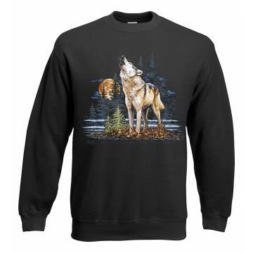 Black Howling wolf Sweatshirt