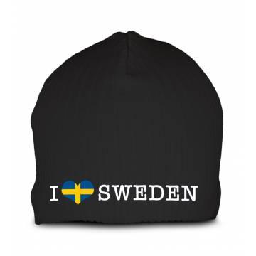 Black I love Sweden Beanie