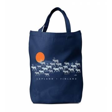 Navy Blue Silver reindeer, Lapland Bag