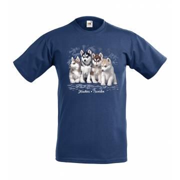 Navy Blue Husky puppies Sweden Kids T-shirt