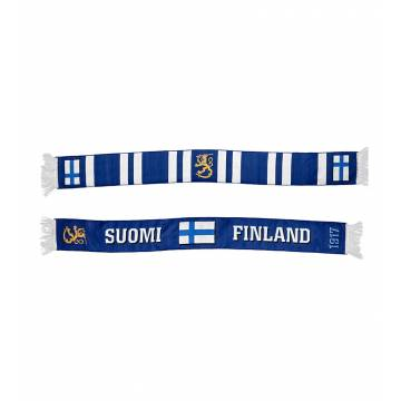 Royal Blue/White Suomi+Finland knitted Scarf
