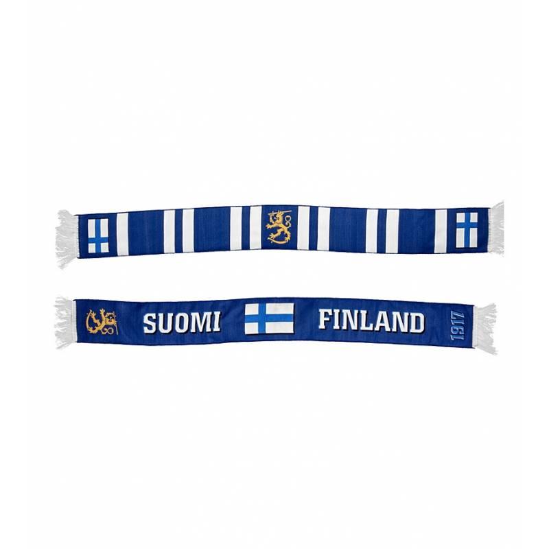 Sini/Valkoinen Finland+Lippu kudottu Fanihuivi