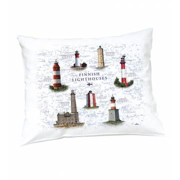 White DC New Finnish Lighthouses Pillow case