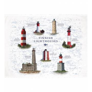 White DC New Finnish Lighthouses Kitchen towel