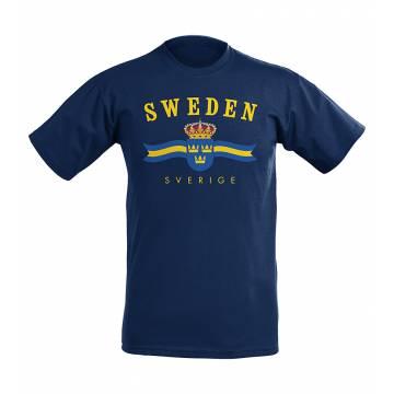 Syvänsininen Sweden vaakuna T-paita