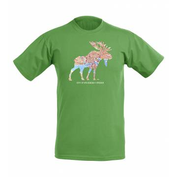 Kelly Green DC Moose and Stockholm´s map T-shirt