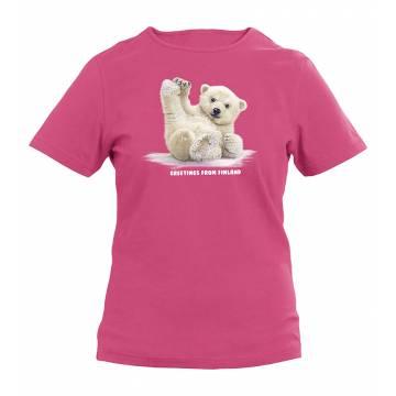 Fuksia Liukuva Jääkarhunpentu Lasten T-paita