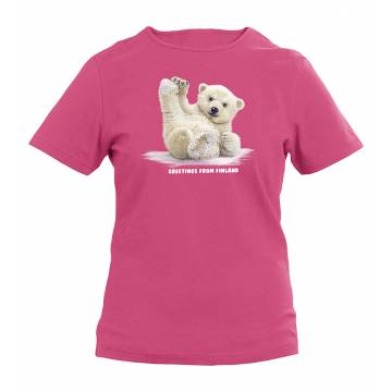 Fuchsia Sliding Polar Bear Cub Kids T-shirt