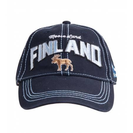 Tummansininen Finland Moose, Washed Twill Cap