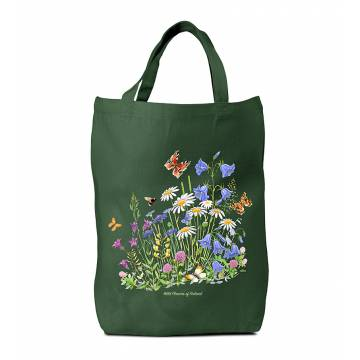 Bottle Green Meadow and Butterflies Cotton Bag
