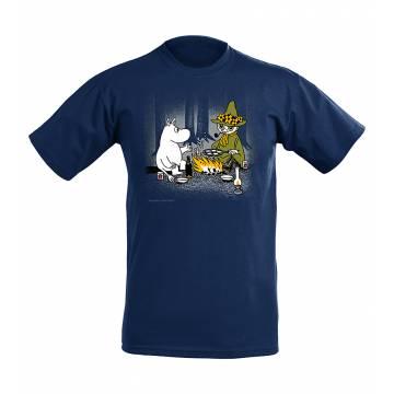Navy Blue Mumin and Snufkin by Campfire Kids T-shirt