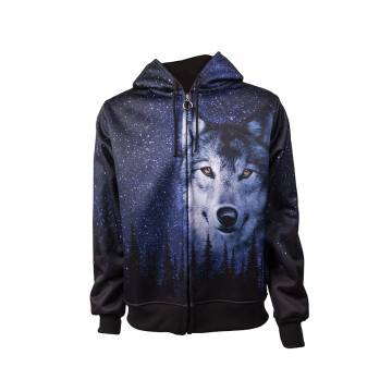 Black Pokka Wolf and Starry Sky Hoodie