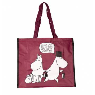 Burgundy Moominpappa and Moominmamma Shopping Bag