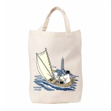 Natural Muumins and lighthouse, OurSea Cotton Bag