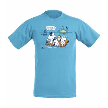 Azure Blue Moomins on a raft, OurSea Kids T-shirt