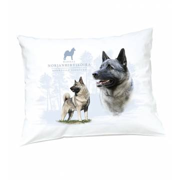 White DC Norwegian elkhound  Pillow case