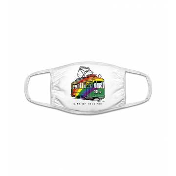 White Rainbow Tram Face Mask