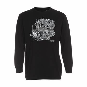 Black Honda CB 750 Engine Longsleeve T-shirt
