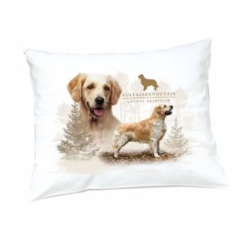 White DC Golden retriever Pillow case