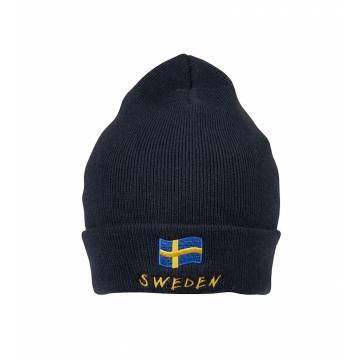 Tummansininen Ruotsin lippu + Sweden  pipo