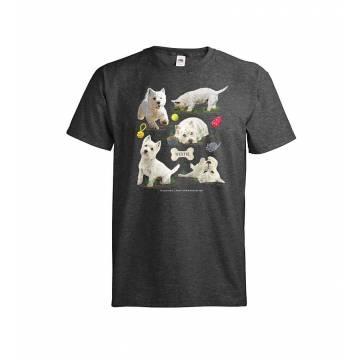 Tumma meleerattu harmaa DC Westie T-paita