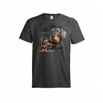Tumma meleerattu harmaa DC Karkeakarvainen mäyräkoira T-paita