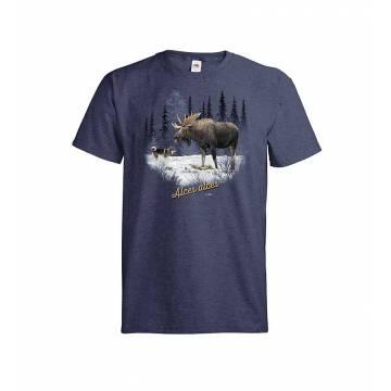 Navy Vintage Heather DC Hirvi+Koira T-paita