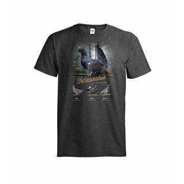 Dark melange gray Metsäkanalinnut+Metsä T-paita