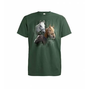 Pullonvihreä DC Kolme Hevosta T-paita