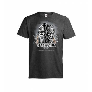 Tumma meleerattu harmaa DC Kalevala, Kasvot T-paita