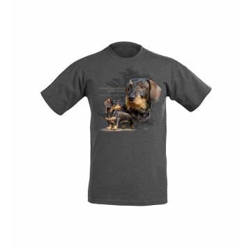 Tumma meleerattu harmaa DC Karkeakarvainen mäyräkoira lasten T-paita