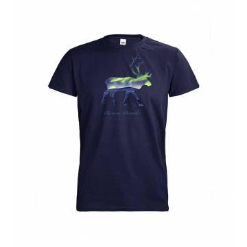 Deep Navy DC Reindeer silhoutte, Aurora Borealis T-shirt