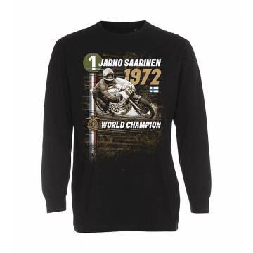 Musta Jarno Saarinen 1972 pitkähiha T-paita