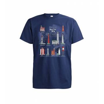 Tummansininen Baltic Sea Lighthouses T-paita