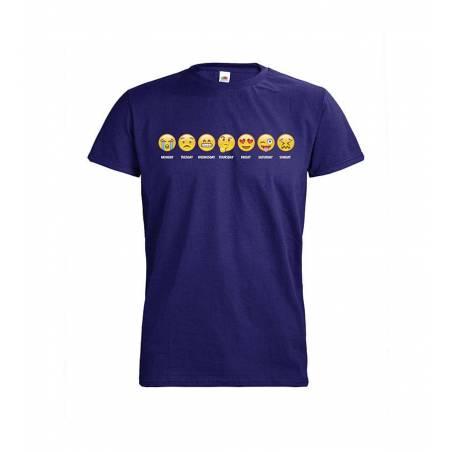 Cobaltin sininen DC Viikonpäivät Emojit T-paita