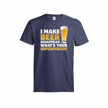 Meleerattu syvänsininen I make beer disappear T-paita