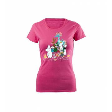 Fuchsia DC Moomins and the horse Slim T-shirt