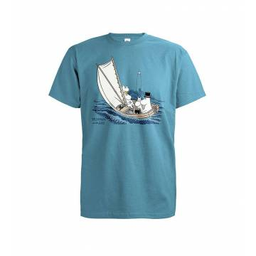 Azure Blue DC Moomins and the lighthouse T-shirt