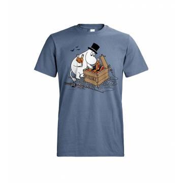 Teräksensininen DC Muumipappa ja viskilaatikko T-paita