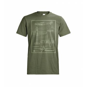 Forest Green DC Messerschmitt lineprint T-shirt