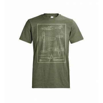 Metsän vihreä DC Messerschmitt viivakuva T-paita