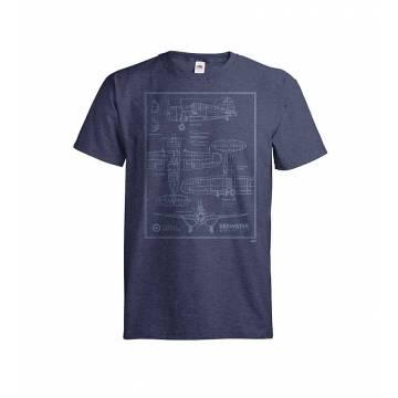 Meleerattu syvänsininen DC Brewster blueprint T-paita