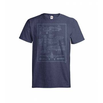 Navy Vintage Heather DC Brewster blueprint T-shirt